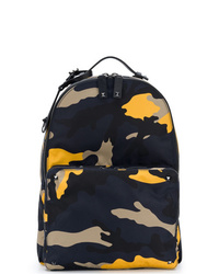 Мужской темно-синий кожаный рюкзак с камуфляжным принтом от Valentino