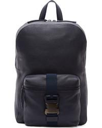 Темно-синий кожаный рюкзак