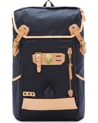 Мужской темно-синий кожаный рюкзак