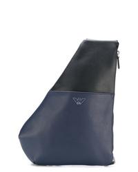 Мужской темно-синий кожаный рюкзак от Emporio Armani