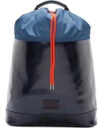 Мужской темно-синий кожаный рюкзак от Kris Van Assche