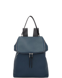 Мужской темно-синий кожаный рюкзак от Loewe