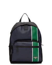 Мужской темно-синий кожаный рюкзак от Prada