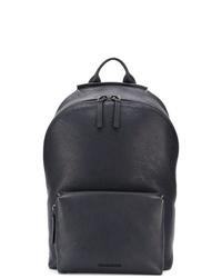 Мужской темно-синий кожаный рюкзак от Troubadour