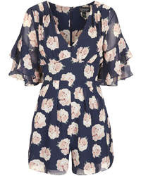 Темно-синий комбинезон с шортами с цветочным принтом