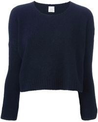 Темно-синий короткий свитер