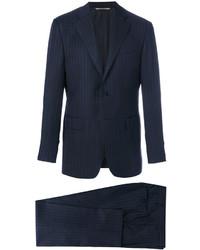 Мужской темно-синий костюм в вертикальную полоску от Canali