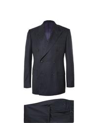Темно-синий костюм в вертикальную полоску от Kingsman