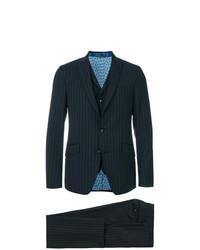 Мужской темно-синий костюм-тройка в вертикальную полоску от Etro