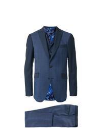 Мужской темно-синий костюм-тройка в клетку от Etro