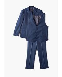 Темно-синий костюм-тройка в клетку от Laconi