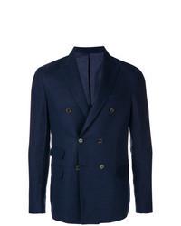 Темно-синий льняной двубортный пиджак