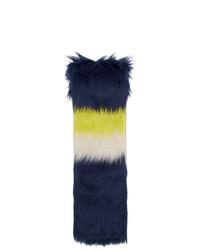 Мужской темно-синий меховой шарф в горизонтальную полоску от Gucci