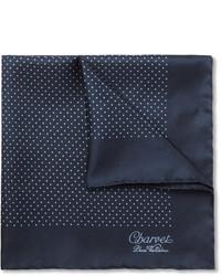 Темно-синий нагрудный платок в горошек