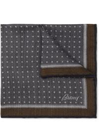 Темно-синий нагрудный платок в горошек от Brioni