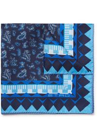 """Темно-синий нагрудный платок с """"огурцами"""" от Etro"""