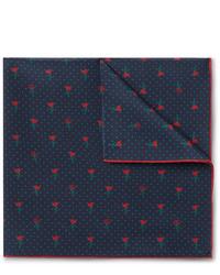Темно-синий нагрудный платок с цветочным принтом от Gucci