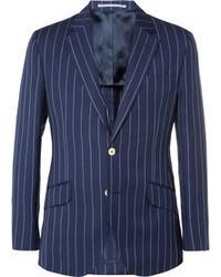 Темно-синий пиджак в вертикальную полоску