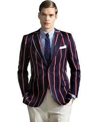 Мужской темно-синий пиджак в вертикальную полоску от Brooks Brothers
