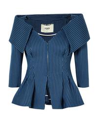 Женский темно-синий пиджак в вертикальную полоску от Fendi