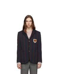 Мужской темно-синий пиджак в вертикальную полоску от Gucci