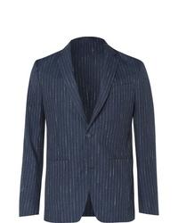 Мужской темно-синий пиджак в вертикальную полоску от Officine Generale