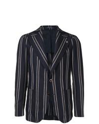 Мужской темно-синий пиджак в вертикальную полоску от Tagliatore