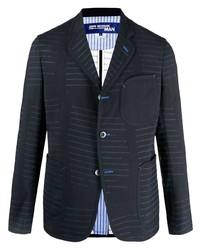 Мужской темно-синий пиджак в горизонтальную полоску от Junya Watanabe MAN