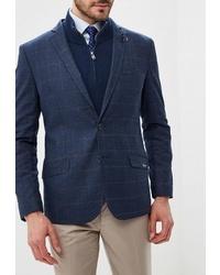 Мужской темно-синий пиджак в клетку от Bazioni
