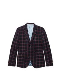 Мужской темно-синий пиджак в клетку от Gucci