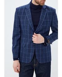 Мужской темно-синий пиджак в клетку от la Biali