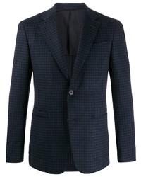 Мужской темно-синий пиджак в мелкую клетку от Z Zegna