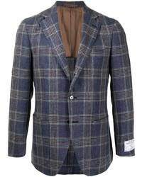 Мужской темно-синий пиджак в шотландскую клетку от Man On The Boon.