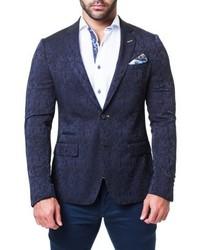 Темно-синий пиджак с леопардовым принтом