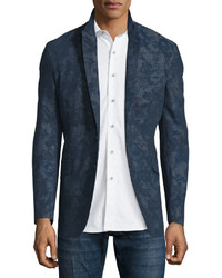 Темно-синий пиджак с принтом
