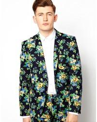 Темно-синий пиджак с цветочным принтом