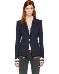 Женский темно-синий пиджак от Balmain