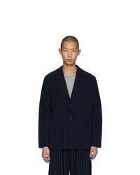 Мужской темно-синий пиджак от Homme Plissé Issey Miyake