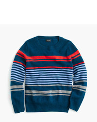 Темно-синий свитер в горизонтальную полоску
