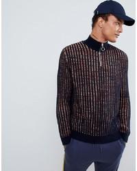 Мужской темно-синий свитер на молнии от ASOS DESIGN