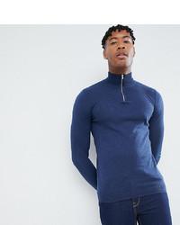 Мужской темно-синий свитер с воротником на молнии от ASOS DESIGN