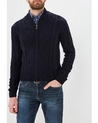 Мужской темно-синий свитер с воротником на молнии от Auden Cavill