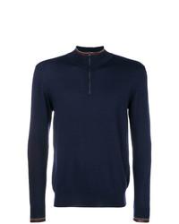 Мужской темно-синий свитер с воротником на молнии от Etro