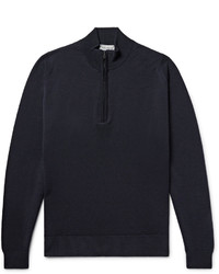 Мужской темно-синий свитер с воротником на молнии от John Smedley