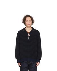 Мужской темно-синий свитер с воротником на молнии от JW Anderson