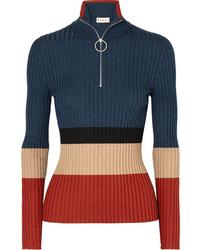 Женский темно-синий свитер с воротником на молнии от Marni