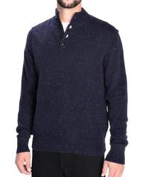 Темно-синий свитер с воротником на пуговицах