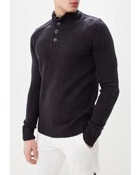 Темно-синий свитер с воротником на пуговицах от Kensington Eastside