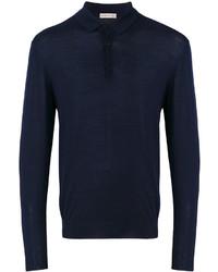 Темно-синий свитер с воротником поло