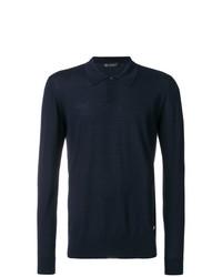 Мужской темно-синий свитер с воротником поло от Versace